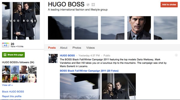 hugoboss 13 Cool Examples of Google+ Brand Pages