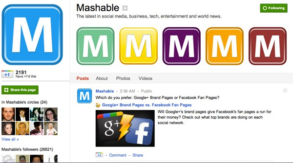 mashable google plus page