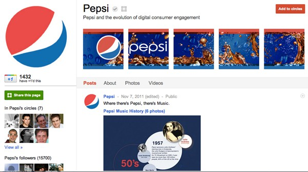 pepsi 13 Cool Examples of Google+ Brand Pages