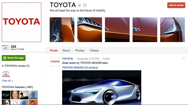 toyota 13 Cool Examples of Google+ Brand Pages