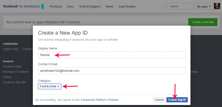 create facebook page app id