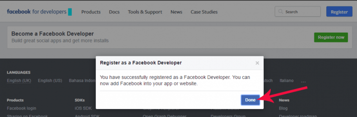 facebook developer confirm