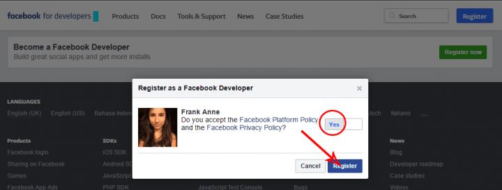facebook developer confirm