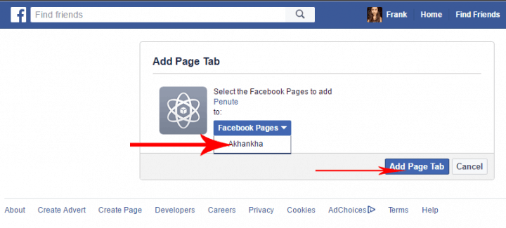 facebook page app select page