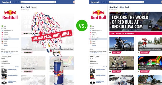 fb redbull 675x352 How To Set Up a Custom Facebook Landing Page