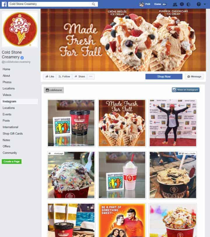 food beverages facebook page cold stone