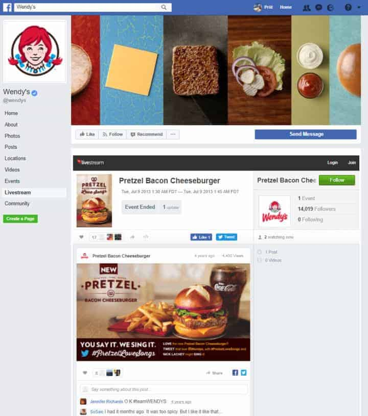 food beverages facebook page wendy's