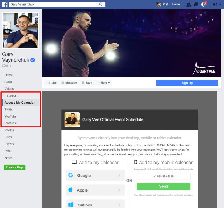 gary vaynerchuk facebook landing page