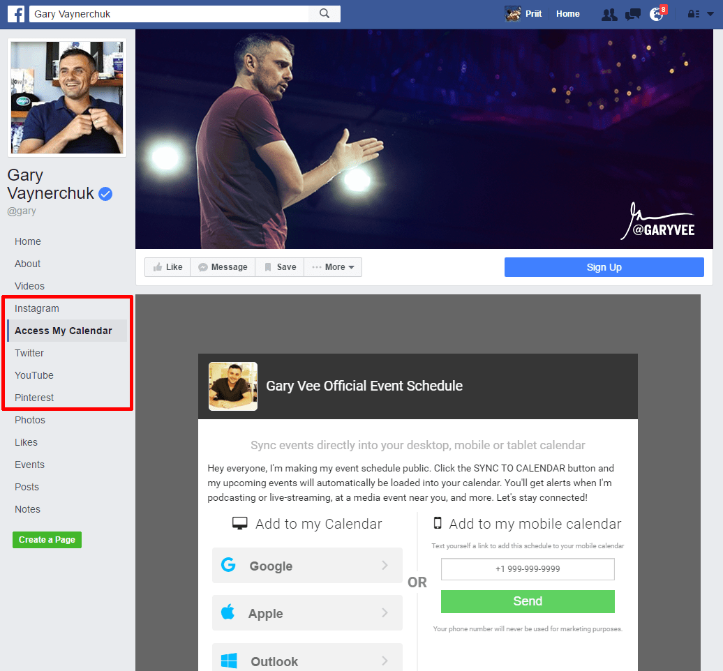 Facebook welcome page app
