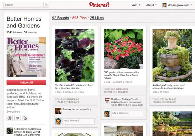 pinterest brand pages better homes and gardens 41 Great Examples of Pinterest Brand Pages