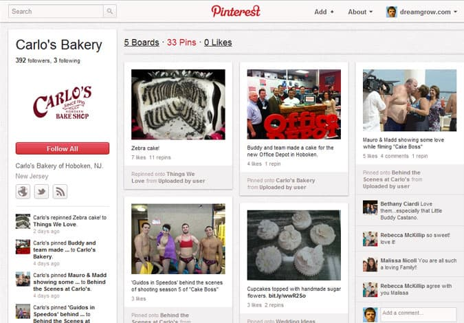 pinterest brand pages carlos bakery 41 Great Examples of Pinterest Brand Pages