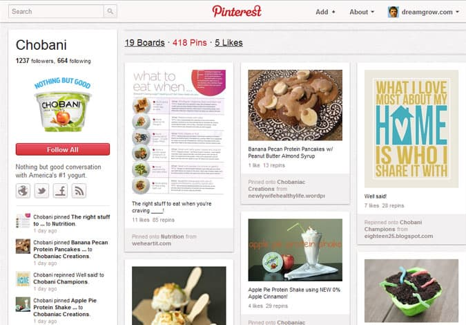pinterest brand pages chobani 41 Great Examples of Pinterest Brand Pages