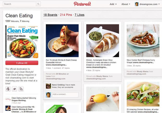 pinterest brand pages clean eating 41 Great Examples of Pinterest Brand Pages