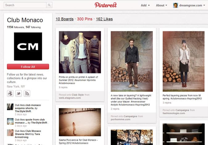pinterest brand pages club monaco 41 Great Examples of Pinterest Brand Pages