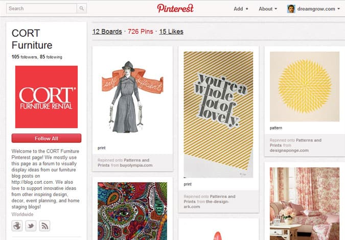 pinterest brand pages cort furniture 41 Great Examples of Pinterest Brand Pages