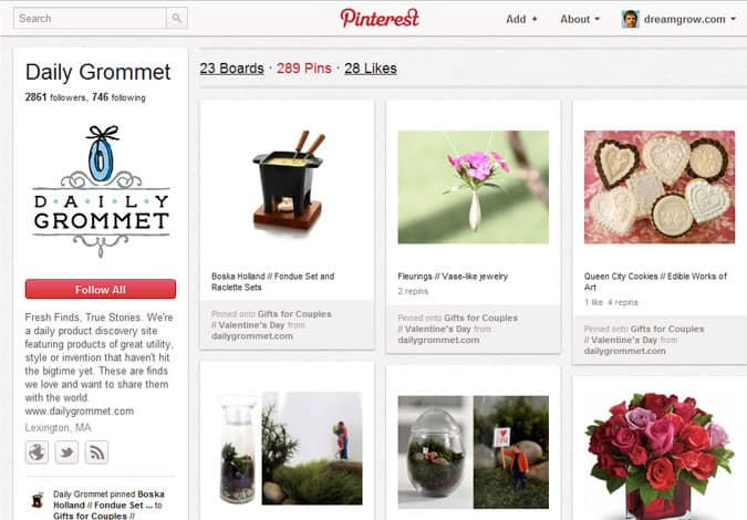 pinterest brand pages daily grommet 41 Great Examples of Pinterest Brand Pages