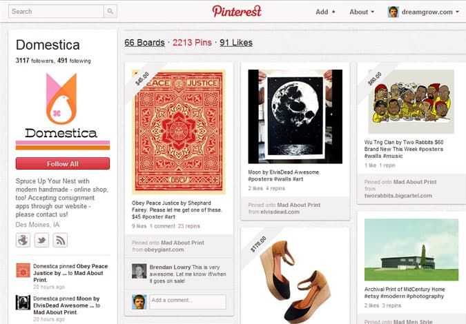 pinterest brand pages domestica 41 Great Examples of Pinterest Brand Pages