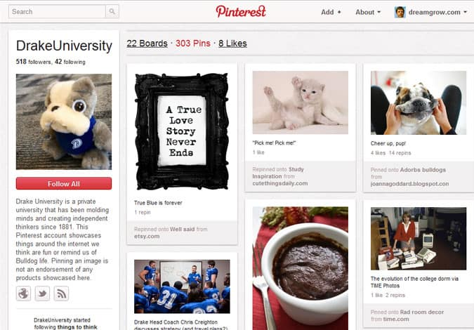 pinterest brand pages drake university 41 Great Examples of Pinterest Brand Pages