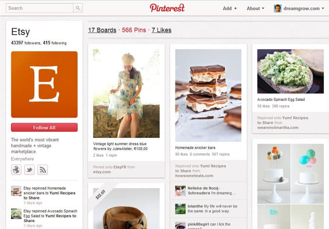 pinterest brand pages etsy 41 Great Examples of Pinterest Brand Pages