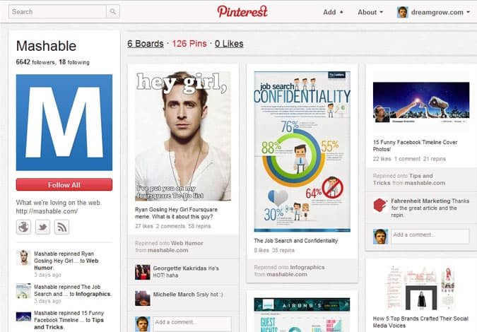 pinterest brand pages mashable 41 Great Examples of Pinterest Brand Pages