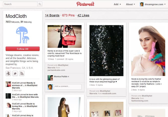 pinterest brand pages modcloth 41 Great Examples of Pinterest Brand Pages