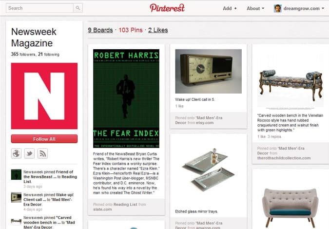 pinterest brand pages newsweek magazine 41 Great Examples of Pinterest Brand Pages