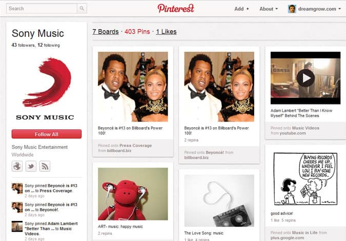 pinterest brand pages sony music 41 Great Examples of Pinterest Brand Pages