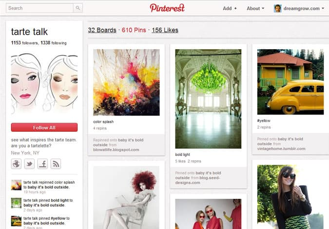 pinterest brand pages tarte talk 41 Great Examples of Pinterest Brand Pages