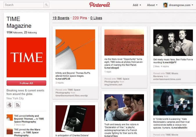 pinterest brand pages time 41 Great Examples of Pinterest Brand Pages