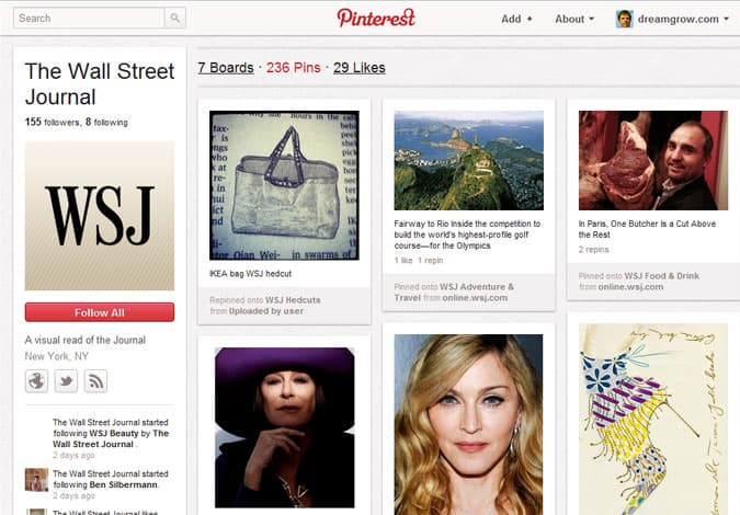 pinterest brand pages wall street journal wsj 41 Great Examples of Pinterest Brand Pages