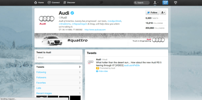 audi twitter brand page 675x335 New Twitter Brand Pages   Guideline and Examples