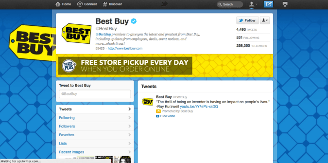 best buy twitter brand page 675x335 New Twitter Brand Pages   Guideline and Examples