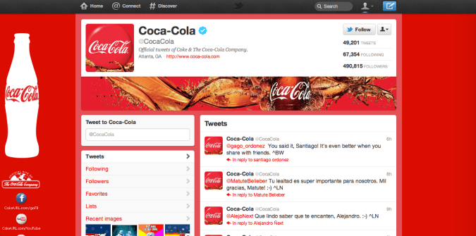 coca cola twitter brand page 675x335 New Twitter Brand Pages   Guideline and Examples
