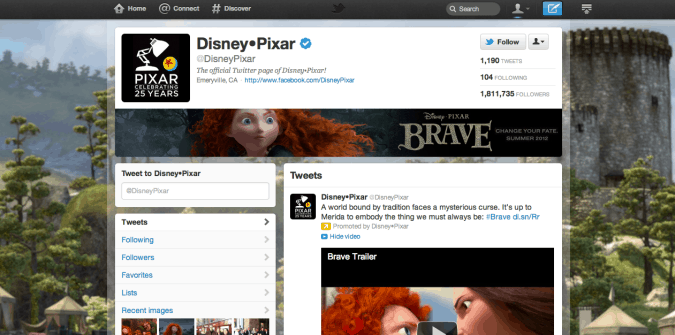 disney pixar twitter brand page 675x335 New Twitter Brand Pages   Guideline and Examples