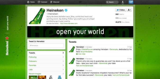 heineken twitter brand page 675x335 New Twitter Brand Pages   Guideline and Examples