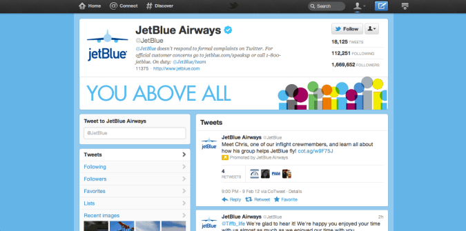 jet blue twitter brand page 675x335 New Twitter Brand Pages   Guideline and Examples