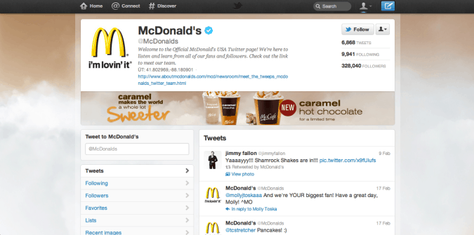 mcdonalds twitter brand page 675x335 New Twitter Brand Pages   Guideline and Examples