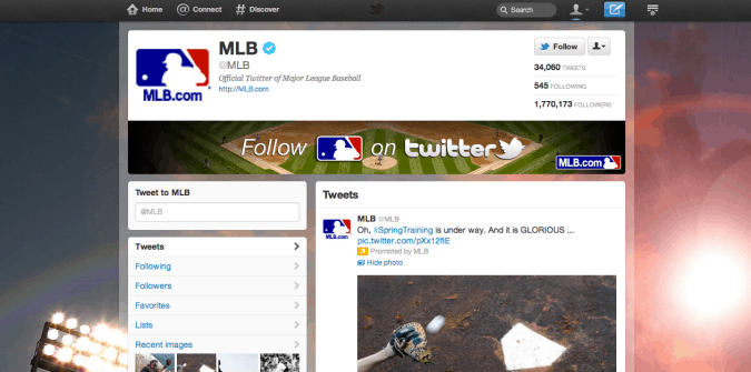 mlb twitter brand page 675x335 New Twitter Brand Pages   Guideline and Examples