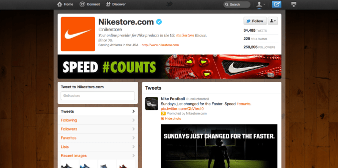 nikestore 675x335 New Twitter Brand Pages   Guideline and Examples