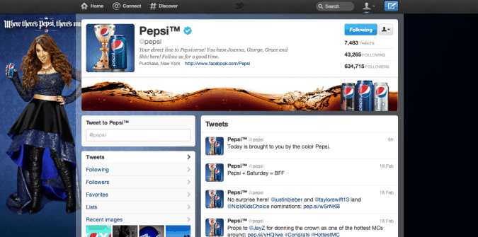 pepsi twitter brand page 675x335 New Twitter Brand Pages   Guideline and Examples