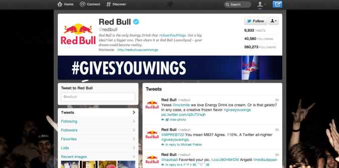 red bull twitter brand page 675x335 New Twitter Brand Pages   Guideline and Examples