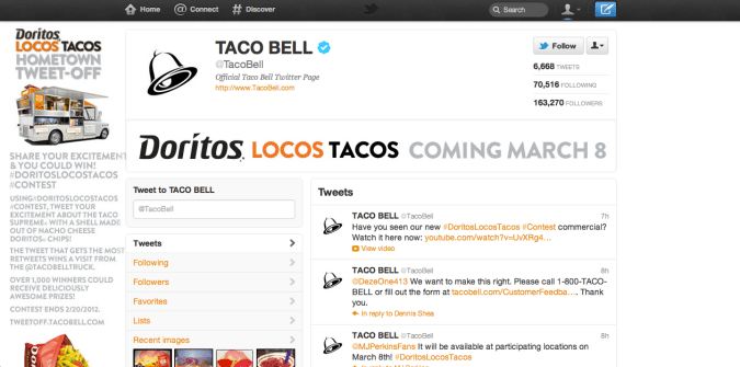 taco bell twitter brand page 675x335 New Twitter Brand Pages   Guideline and Examples