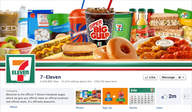 7eleven facebook cover photo 675x395 23 Cool Examples of Facebook Page Cover Photos
