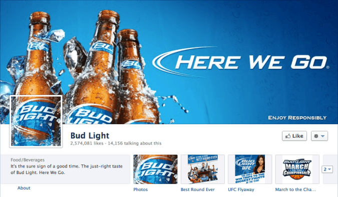 bud light facebook cover photo 675x395 23 Cool Examples of Facebook Page Cover Photos