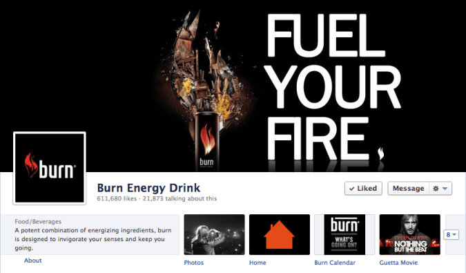 burn energy drink facebook cover photo 675x395 23 Cool Examples of Facebook Page Cover Photos