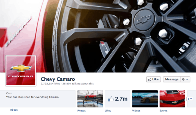 chevvy camaro facebook cover photo 675x395 23 Cool Examples of Facebook Page Cover Photos