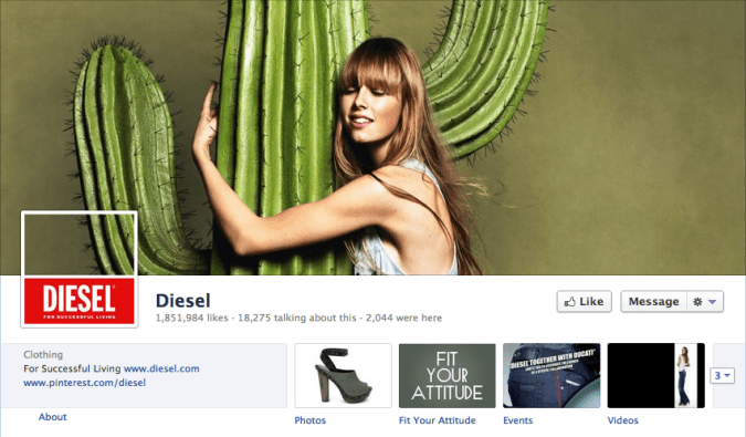 diesel facebook cover photo 675x395 23 Cool Examples of Facebook Page Cover Photos