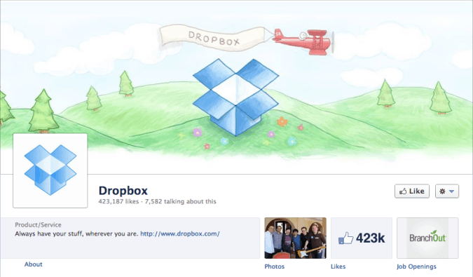 dropbox facebook cover photo 675x395 23 Cool Examples of Facebook Page Cover Photos