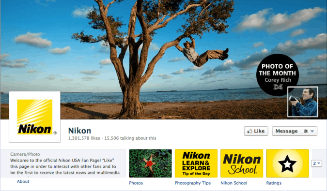 nikon facebook cover photo 675x395 23 Cool Examples of Facebook Page Cover Photos