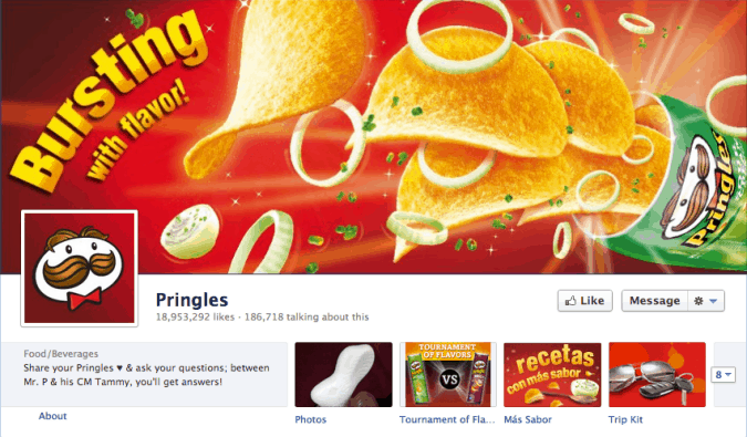 pringles facebook cover photo 675x395 23 Cool Examples of Facebook Page Cover Photos